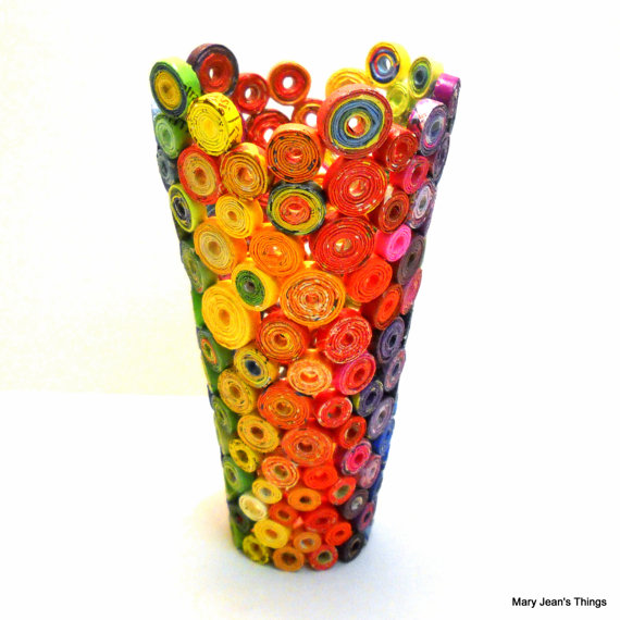 Vase made from rolled up paper